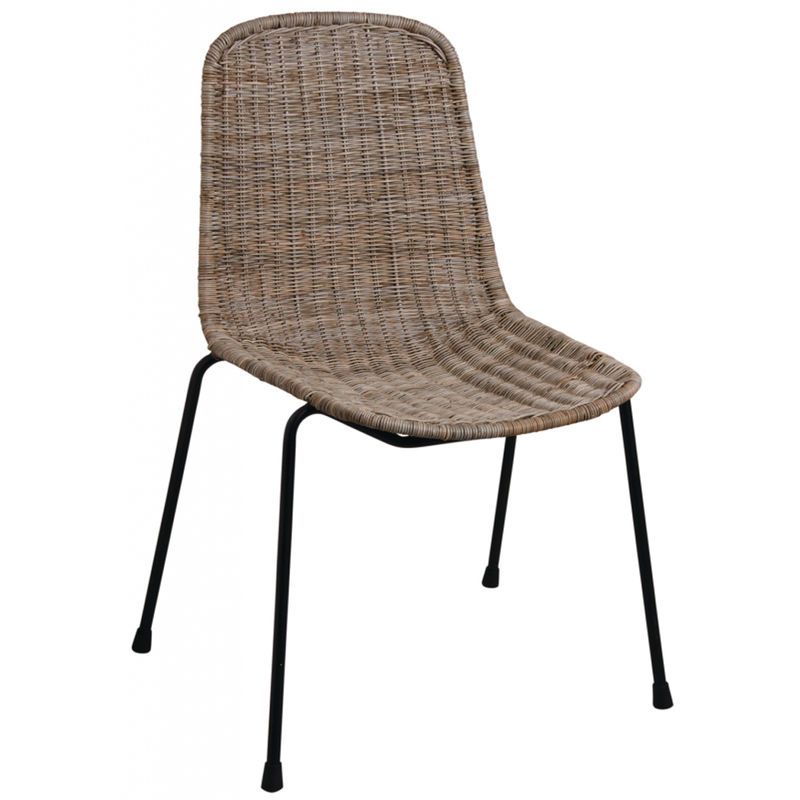 Chaise en rotin slimit et métal - Dim : 47 x 54 x 83-43 cm -PEGANE-