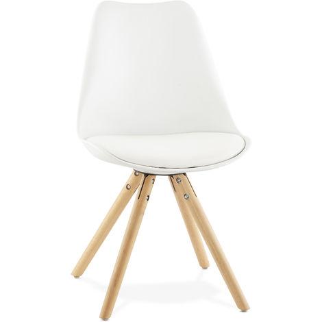 Chaise en similicuir et bois Blanc - L48 x L56 x H83 cm USAGE PROFESSIONNEL -PEGANE-