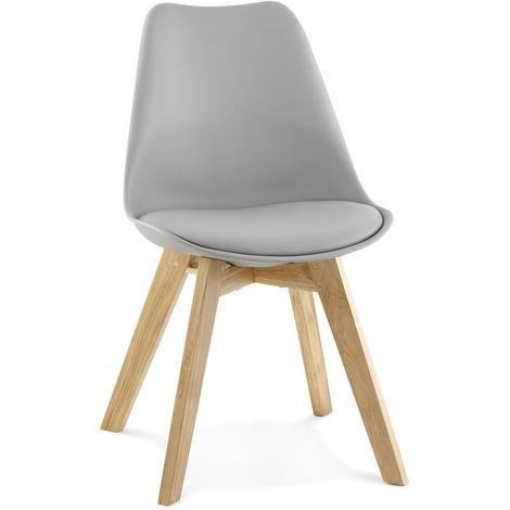 Chaise en similicuir et bois Gris - L48 x L56 x H83 cm USAGE PROFESSIONNEL -PEGANE-