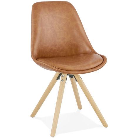 Chaise en Similicuir et bois Marron - L48 x L56 x H82 cm USAGE PROFESSIONNEL -PEGANE-