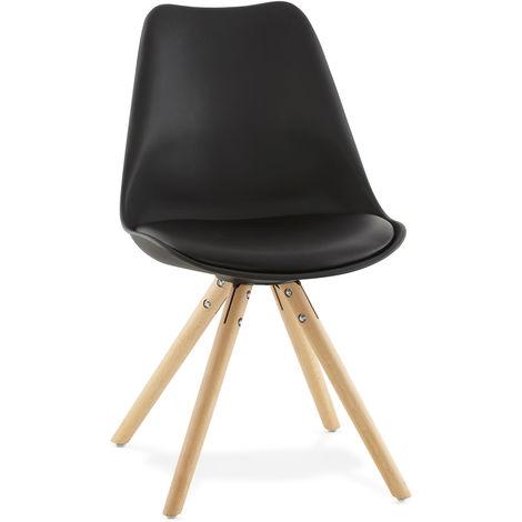 Chaise en similicuir et bois Noir - L48 x L56 x H83 cm USAGE PROFESSIONNEL -PEGANE-