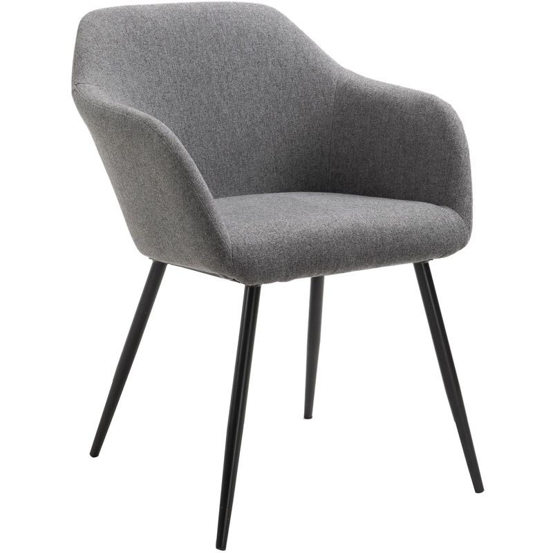 Chaise En Tissu Gris Foncé ENEGO Fauteuil De Table Salle à