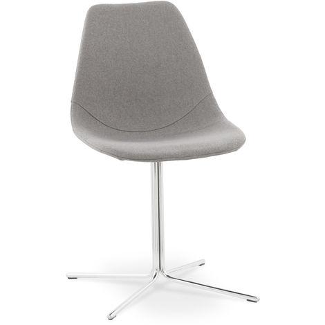 Chaise en tissu laine et métal coloris gris USAGE PROFESSIONNEL - L46 x L55 x H83 cm -PEGANE-