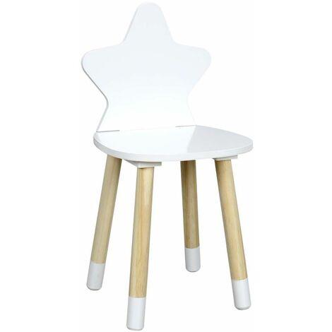 Chaise enfant en bois étoile Blanc - Blanc