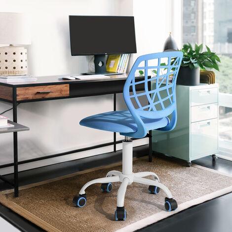 """main image of """"Chaise enfant étudiant ergonomique réglable roulant métal tissu bleu"""""""