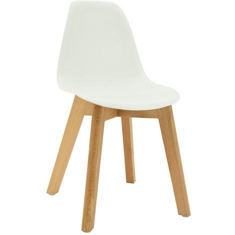 Chaise enfant polypropylène et bois Blanc - Blanc