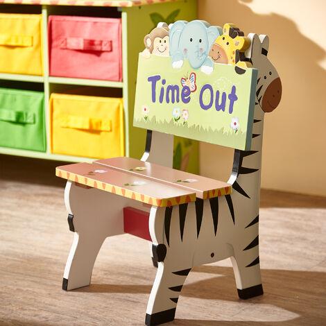 Chaise enfant Sunny Safari siège fauteuil banc bois chambre bébé mixte W-8270A