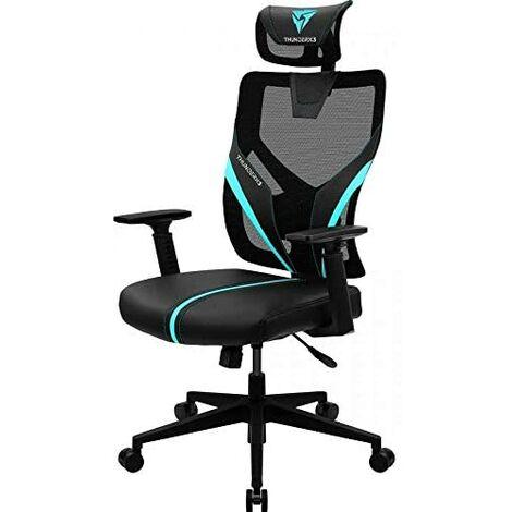 Chaise ergonomique thunderx3 yama1 noir avec détails en cyan support lombaire réglable et maille respirante