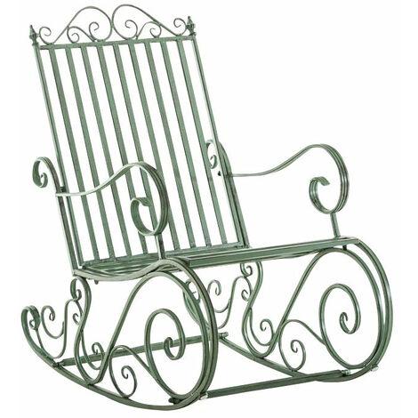 Chaise fauteuil à bascule rocking chair pour jardin en fer vert vieilli - vert