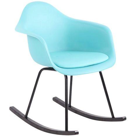Chaise fauteuil à bascule style scandinave bleu plastique simili-cuir et bois - bleu