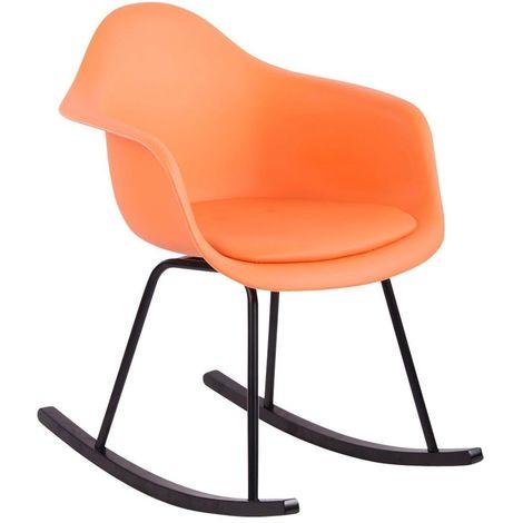 Chaise fauteuil à bascule style scandinave orange plastique simili-cuir et bois - or