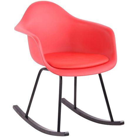 Chaise fauteuil à bascule style scandinave rouge plastique simili-cuir et bois - rougeed