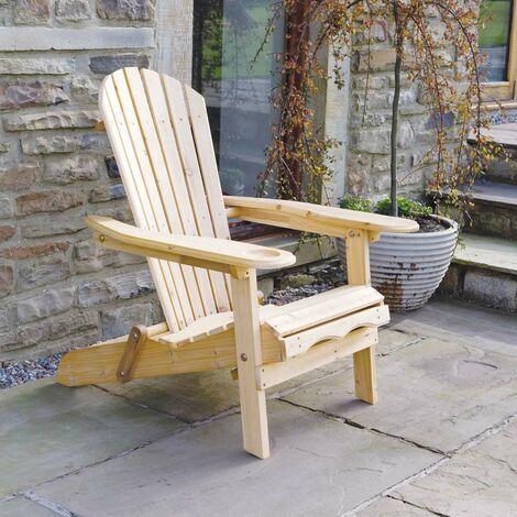 Chaise/Fauteuil Adirondack D'extérieur pour Jardin- avec Repose-Pieds Extensible - Brown