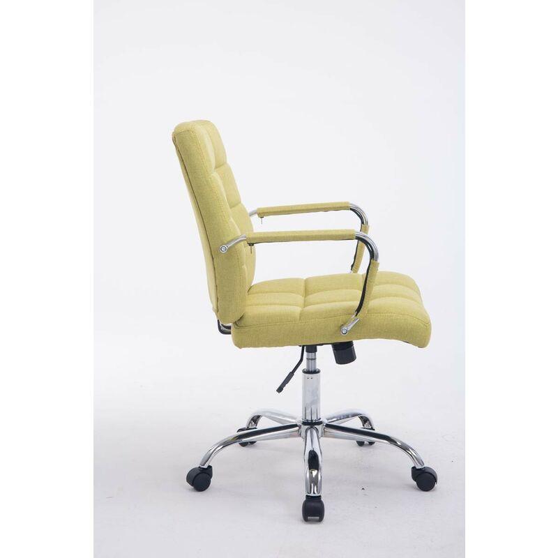 Chaise fauteuil de bureau à roulettes en tissu vert hauteur réglable vert