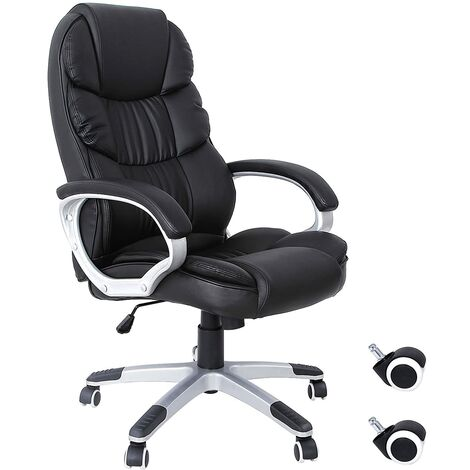 Chaise fauteuil de bureau Chaise pour ordinateur hauteur réglable PU noir OBG24B