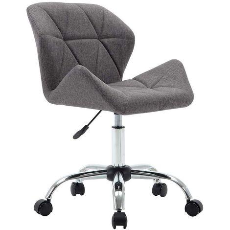 Chaise fauteuil de bureau sur roulettes en tissu gris foncé hauteur réglable