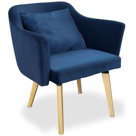 Chaise / Fauteuil scandinave Dantes Tissu Bleu - Bleu