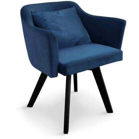 Chaise / Fauteuil scandinave Dantes Velours Bleu - Bleu