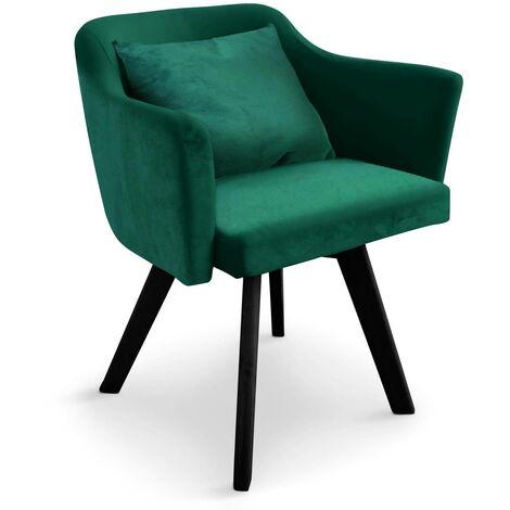 Chaise / Fauteuil scandinave Dantes Velours Vert - Vert
