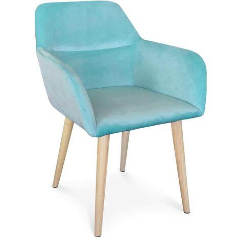 Chaise / Fauteuil scandinave Fraydo Velours Bleu - Bleu