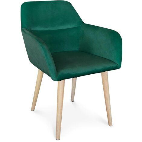 Chaise / Fauteuil scandinave Fraydo Velours Vert - Vert