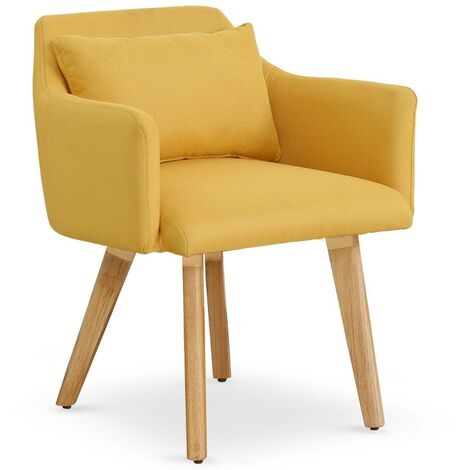 Chaise / Fauteuil scandinave Gybson Tissu Jaune