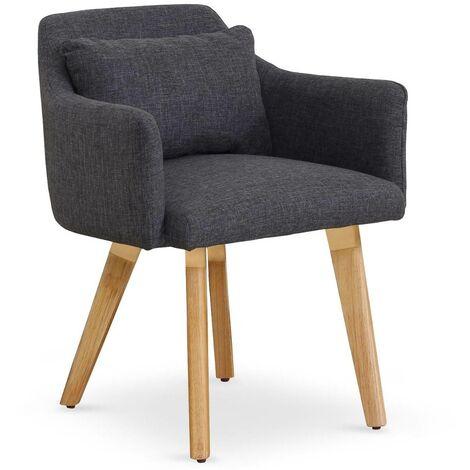 Chaise / Fauteuil scandinave Gybson Tissu Noir - Noir