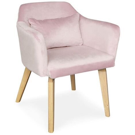 Chaise / Fauteuil scandinave Gybson Velours Rose - Rose