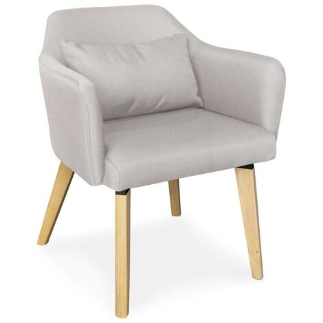 Chaise / Fauteuil scandinave Shaggy Tissu Beige - Beige