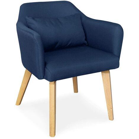 Chaise / Fauteuil scandinave Shaggy Tissu Bleu - Bleu