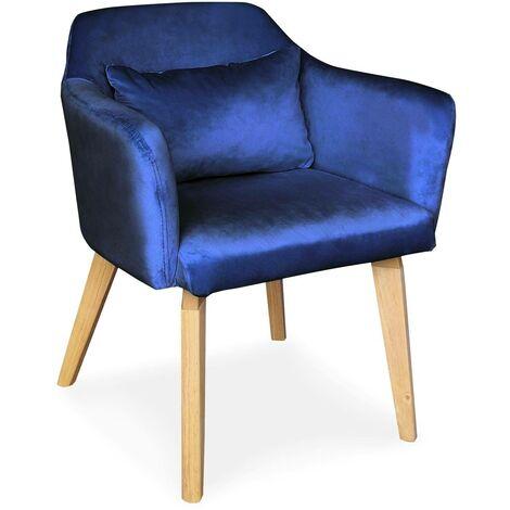Chaise / Fauteuil scandinave Shaggy Velours Bleu - Bleu