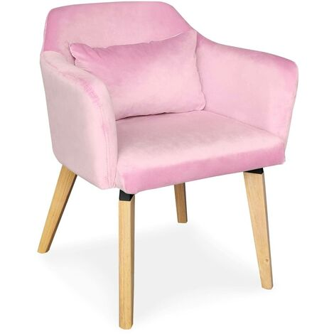 Chaise / Fauteuil scandinave Shaggy Velours Rose - Rose