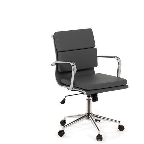 SKLUM  Chaise de bureau métallique à roulettes Fhöt   Simili cuir