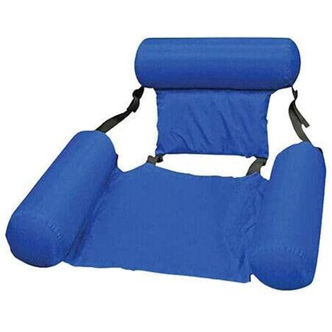 Chaise flottante de natation gonflable Sièges de piscine pliables Chaises longues de lit 200 LBS (bleu)