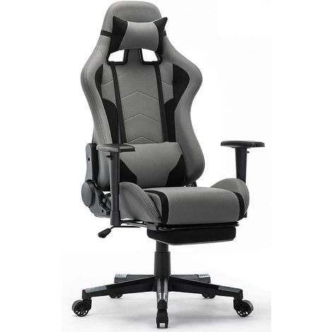 """main image of """"Chaise Gaming avec Repos-pieds - Fauteuil Gaming Chaise de Bureau Ergonomique - Siège Pivotant - Gris - IntimaTe WM Heart - GRIS"""""""