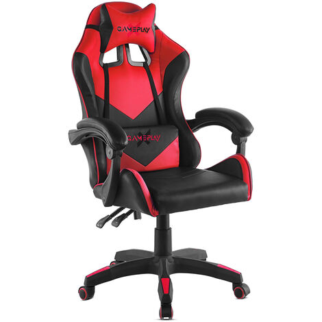 """main image of """"Chaise gaming fauteuil de bureau, chaise gamer ergonomique pour ordinateur ou office, fauteuil de jeu avec accoudoirs rembourres, dossier inclinable et 2 coussins"""""""