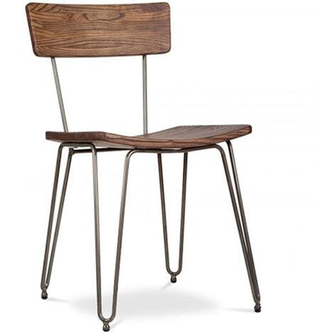 Chaise Hairpin de style industriel - Bois et métal Argenté