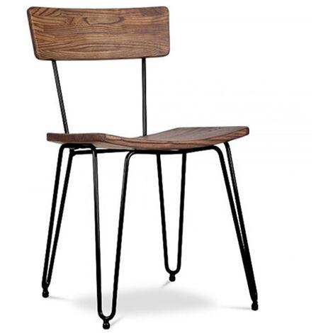 Chaise Hairpin de style industriel - Bois et métal Noir