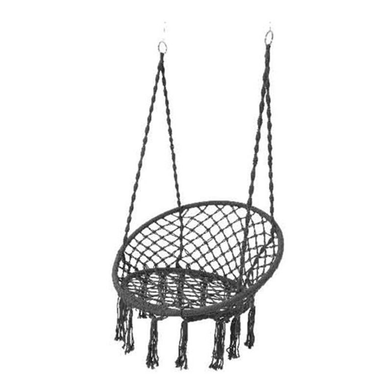 Jardideco - Chaise hamac avec franges - gris