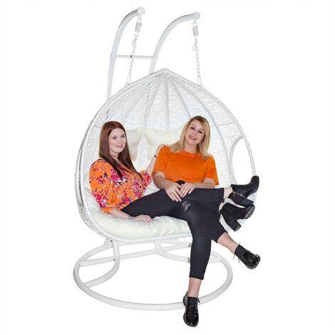 Chaise hamac suspendu panier polyrotin avec cadre 2 places à bascule panier coussin de siège