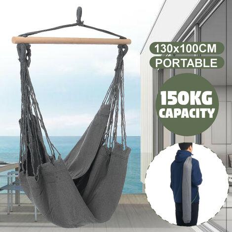 Chaise hamac suspendue Portable balançoire épaissir porche siège jardin Camping en plein air Patio voyage sans oreiller gris Sans oreillers