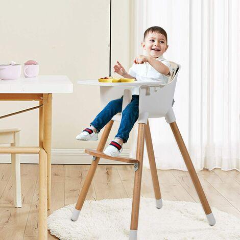 Chaise Haute Bébé 2 en 1 en Bois avec Hauteur et Plateau Réglable Ceinture de Sécurité Beige Style Scandinave