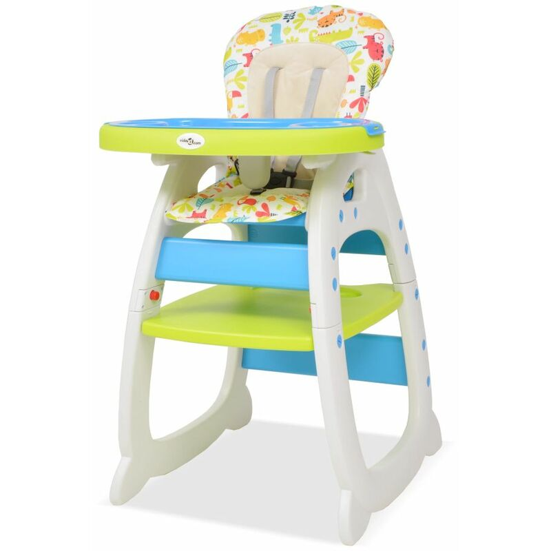 Youthup - Chaise haute convertible 3-en-1 avec table Bleu et vert