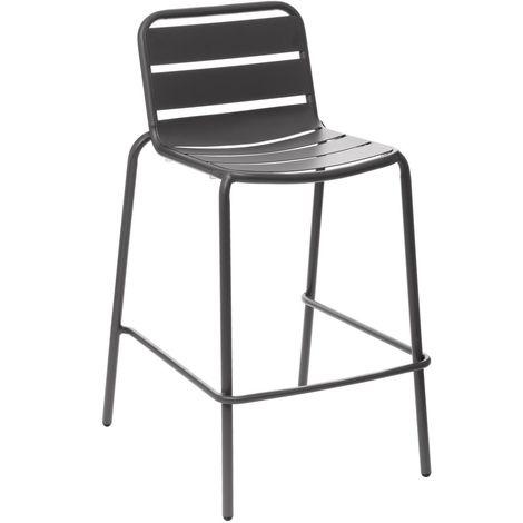 Chaise haute de jardin empilable design Phuket - Gris graphite - Gris foncé