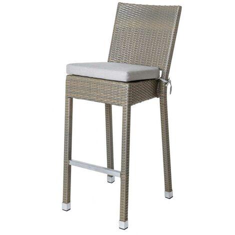 Chaise haute d'extérieur en rotin et aluminium Taupe 43.00 cm x 60.00 cm x 114.00 cm - Taupe