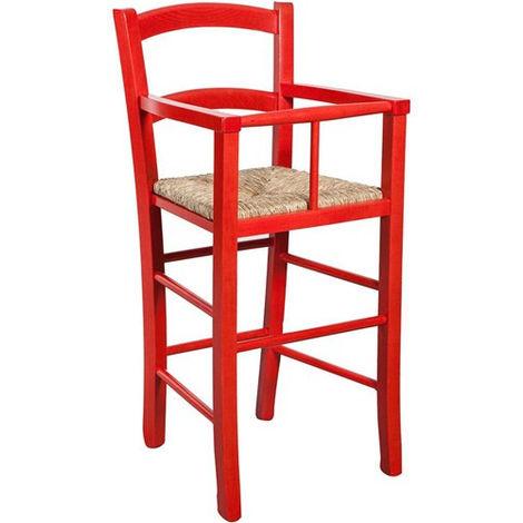 Chaise haute en bois pour table à manger restaurant pizzeria cuisine art rustique Rouge L43xPR43xH91 Cm Made In Italy