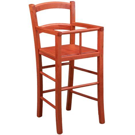 Chaise haute en bois pour table à manger restaurant pizzeria cuisine art rustique Rouge L46xPR46xH101 Cm Made In Italy