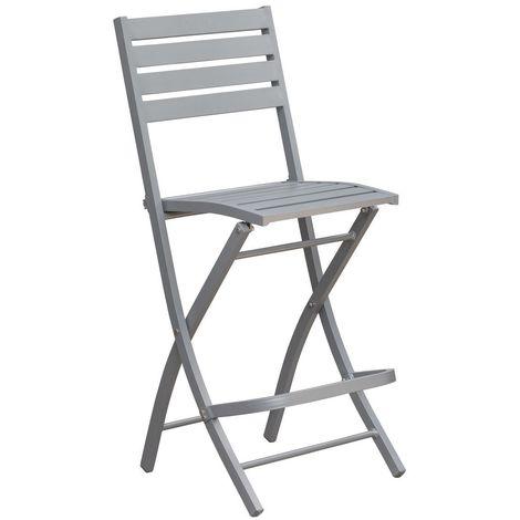 Chaise haute pliante de jardin Marius - 46 x H. 110 cm - Gris - Gris
