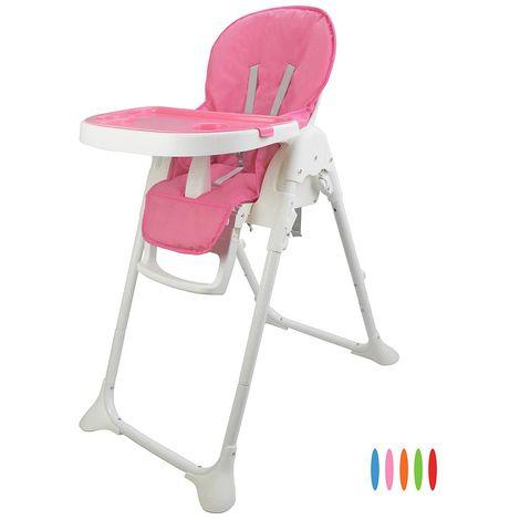 Chaise Haute pour Bébé, Chaise Pliante pour Bébé, Rose, Taille déployée: 105 x 89 x 56 cm