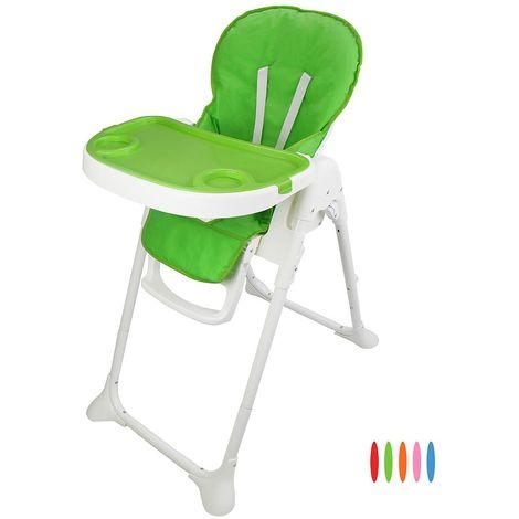 Chaise Haute pour Bébé, Chaise Pliante pour Bébé, Vert, Taille déployée: 105 x 89 x 56 cm